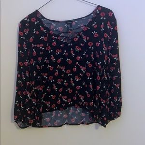 flowered forever 21 lace up blouse